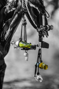 Hunter carrying lanyard with Slayer duck calls